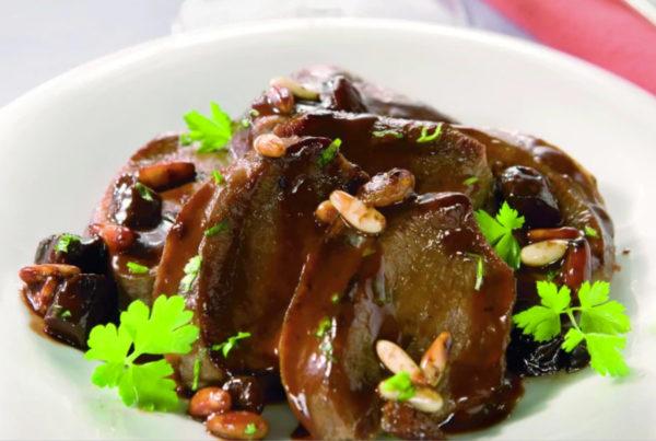 Lingua di bue in agrodolce piatto fiorani e c lavorazioni carni