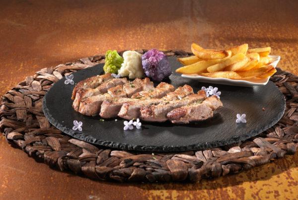 Tagliata di coppa piatto fiorani e c. azienda produzione carne