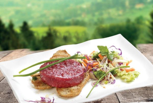 Tartare di chianina piatto abmientato fiorani e c. azienda produzione carne tartare