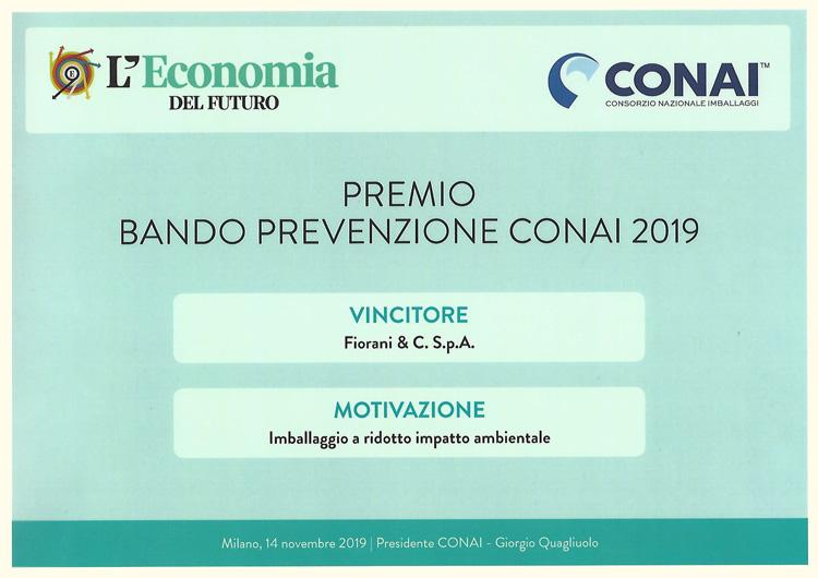 Premio bando prevenzione CONAI 2019 per Imabllaggio a ridotto i