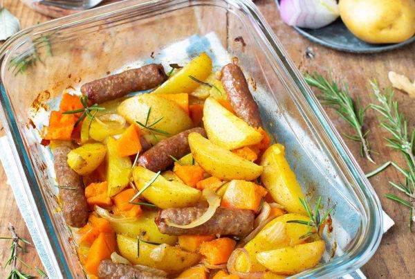 Ricetta salsiccette con vitello zucca  patate cipolla rossa firoani carni